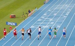 Atletismo 100 medidores de raça Fotos de Stock Royalty Free