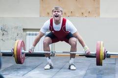 Atletismo pesado, weightlifter. Fotografia de Stock