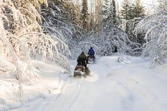 Atlety na snowmobile Zdjęcie Royalty Free