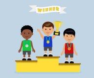 Atlety na zwycięzcy podium z medalami przy filiżanką ilustracja wektor