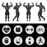 Atlety, sport ikony, sprawność fizyczna, ćwiczenie również zwrócić corel ilustracji wektora Zdjęcie Royalty Free