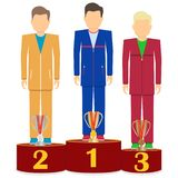 Atlety stoją na podium Atlety z sport filiżankami są na podium ilustracji