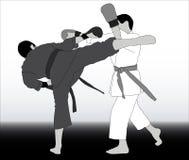 Atlety w różnej kimonowej walce na syndykata tle ilustracja wektor