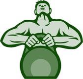 Atlety Weightlifter Podnosi Kettlebell Retro ilustracji
