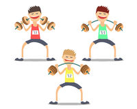 Atlety weightlifter robi ćwiczeniom trudnym Vektor Ilustracji