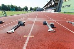 atletyka bloków zaczynać Fotografia Royalty Free