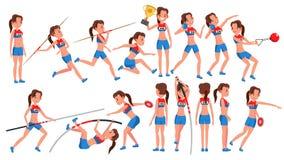 Atletyki dziewczyny gracza kobiety wektor Sportowego sporta rywalizacja barwnik urządzeń sportowych na ilustracyjna wody szybkobi ilustracji