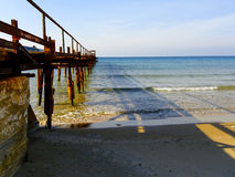 Atlit Coast Morning view with old deck, North District of Israel Royalty Free Stock Images
