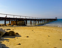 Atlit Coast Morning view with old deck, North District of Israel Royalty Free Stock Photos