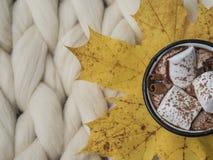 Atmósfera de la composición acogedora, del chocolate caliente con las melcochas, de la manta de la lana merina, caliente y cómoda fotografía de archivo