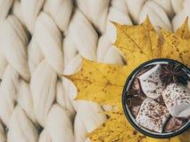 Atmósfera de la composición acogedora, del chocolate caliente con las melcochas, de la manta de la lana merina, caliente y cómoda imagen de archivo