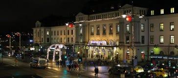 Atmósfera de la Navidad en la estación de la central de Estocolmo Fotos de archivo