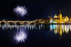 Atmósfera del Año Nuevo en Praga, Checo Republick Imagenes de archivo