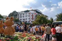 Atmósfera del partido en las TET-festividades en Ho Chi Minh City (Saigon) Fotografía de archivo libre de regalías