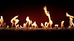 Atmósfera majestuosa preciosa que satisface cerca para arriba en el carbón de leña que quema lento con la llama anaranjada del fu almacen de metraje de vídeo