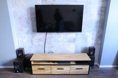 Atmósfera minimalista en sala de estar o salón en el apartamento con foto de archivo