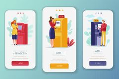 ATM付款人垂直的横幅 向量例证