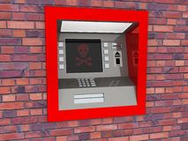 ATM看法在被隔绝的白色背景中 库存照片