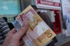 ATM στη Λευκορωσία στο Βιτσέμπσκ Ανταλλαγή του νομίσματος ρούβλια ρωσικά στοκ φωτογραφίες με δικαίωμα ελεύθερης χρήσης