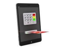 网上付款概念。有ATM和信用卡的片剂个人计算机 免版税库存照片