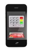 网上付款概念。有ATM和信用卡的手机 免版税库存照片