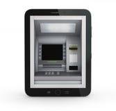 在线付款概念 有ATM和信用卡的片剂个人计算机 库存图片