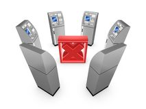 ATM around cross mark. Royalty Free Stock Images