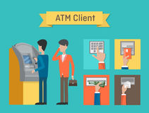 ATM or automated teller or cash machine clients.  Royalty Free Stock Photo