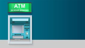 ATM - Automated teller machine with green lightbox, 24 hour banking. Template with ATM terminal for advertisement on. Horizontal long backdrop, 3D illustration Royalty Free Stock Images