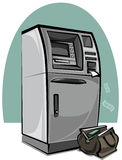 Atm and bag with money Royalty Free Stock Photos