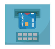 ATM with a bank card icon, flat design, isolated on white background. Vector illustration, clip art Royalty Free Stock Images