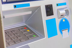 ATM bank cash machine built into wall Stock Images