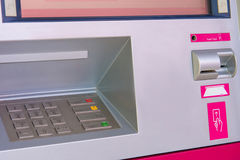 ATM bank cash machine built into wall Stock Photography