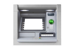ATM with Blank Screen isolated on white background. Blue ATM with blank screen isolated on white background Royalty Free Stock Photography
