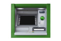 ATM with Blank Screen isolated on white background. Blue ATM with blank screen isolated on white background Stock Images