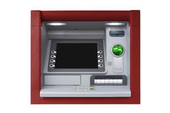 ATM with Blank Screen isolated on white background. Blue ATM with blank screen isolated on white background Stock Photos