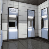 ATM blue kiosk Royalty Free Stock Photography