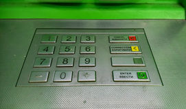 ATM cash machine. Enter pin code keypad with russian language Stock Images