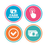 ATM cash machine withdrawal icons. Royalty Free Stock Image