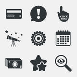 ATM cash machine withdrawal icons. Stock Photography