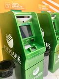 ATM cash mashines in airport. SBERBANK ATM electronic cash mashines in Sheremetyevo Airport, Moscow, Russia stock photography