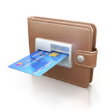 ATM cash point slot in the wallet. ATM cash point slot with credit card in the wallet - 3D concept Royalty Free Stock Image