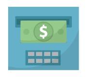 ATM daje out pieniądze ikonie, cashouts płaski projekt, odizolowywający na białym tle Wektorowa ilustracja, klamerki sztuka Fotografia Stock
