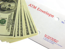 ATM Deposit. A photo of an ATM deposit envelope with cash royalty free stock photos