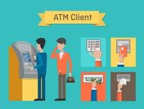 ATM eller automatiserade kassör- eller bankomatklienter stock illustrationer