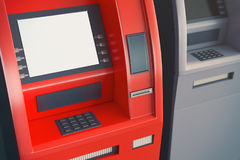ATM with empty screen. Close up of red ATM machine with empty white screen. Monetary operation concept. Mock up, 3D Rendering vector illustration