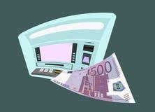 ATM en vijf honderd euro Stock Afbeelding