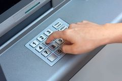 ATM - entering pin Stock Photography