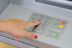 ATM - entering pin Royalty Free Stock Images
