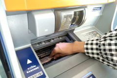 ATM - entering pin close up Stock Image